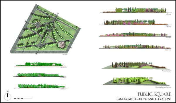 Lands Design - Public square towards the gardeners